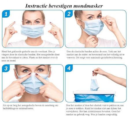 Instructies bevestigen 3 laags mondkapje