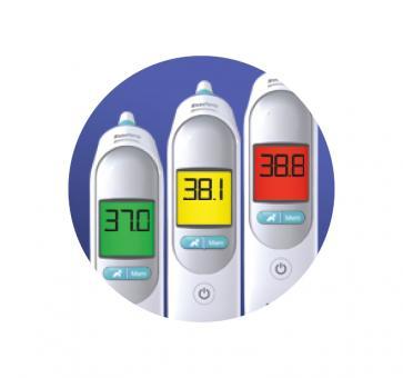 Koortsindicatorfunctie met kleuren op het display Braun IRT6515
